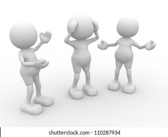 3d people - men, person  talking. Conversation