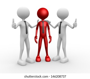 3d people - men, person together. Congratulation