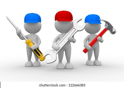 3d people - men, person with the tools in the hands. Wrench, hammer and screwdriver