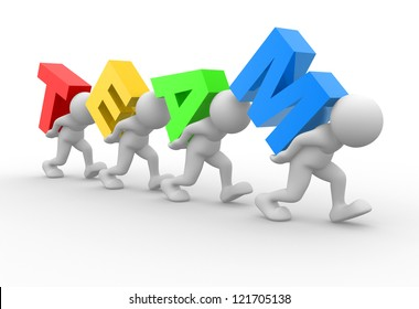 """3d people - men, person with word """"team"""". Concept of teamwork"""
