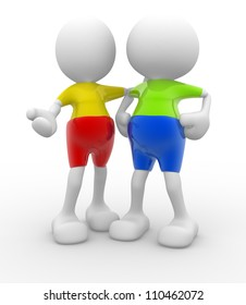 3d people - men, persons talking. Concept of dialogue and congratulation