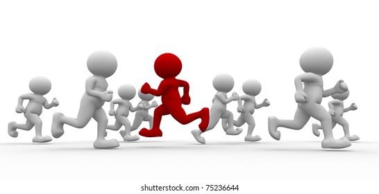 3d people - men running. I walk my way .