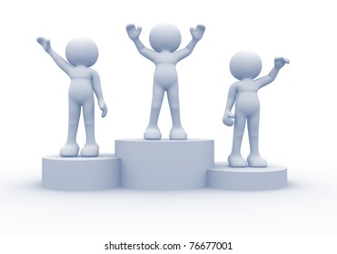 3d people on podium - this is a 3d render illustration
