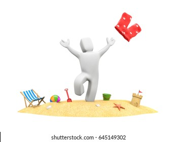 3d people on vacation - enjoy beach vacation. 3d illustration