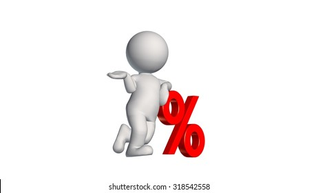 3D People with percent sign - isolated on white background