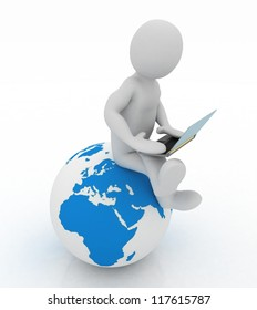 3d people - person with a laptop and globe. 3d render