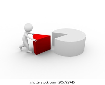 3d People With Pie Chart on white background