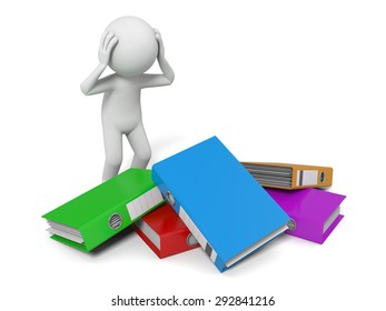 3d people with a pile of Ring Binders. 3d image. Isolated white background