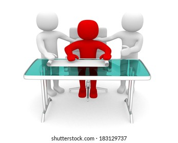3d people and a plan at a office. Business partners. 3d render