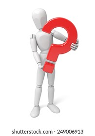 3d people with a question mark. 3d image. Isolated white background