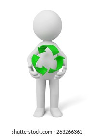 3d people with a recycling symbol. 3d image. Isolated white background