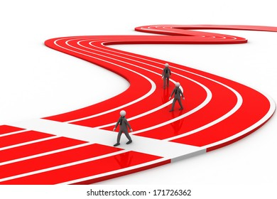 3d people running the track