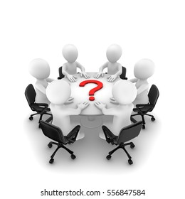 3d people are sitting around a table and red question mark