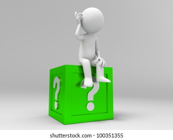 3d people sitting on the box with question mark