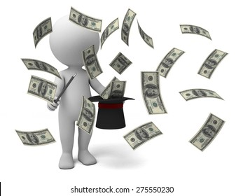 3d people sitting on a bundle of a bundle of money. 3d image. Isolated white background