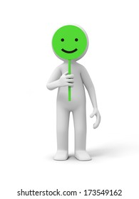 3d people with smiling sign