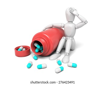 3d people with some pills. 3d image. Isolated white background