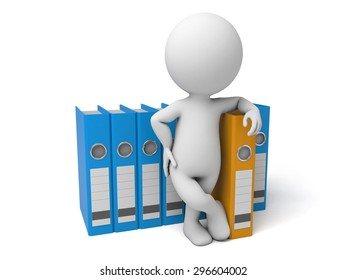3d people with some Ring Binders. 3d image. Isolated white background