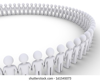 3d people standing next to each other to form a big circle