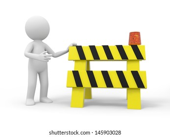 A 3d people standing at the roadblocks
