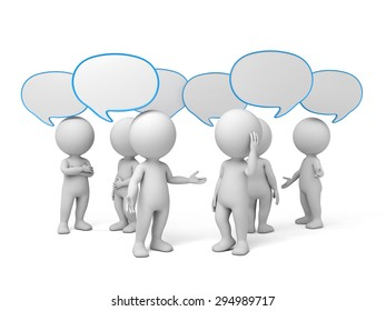 3d people talking with speech bubbles. 3d image. Isolated white background.
