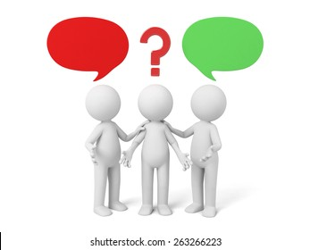 3d people thinking in a pile of question marks. 3d image. Isolated white background