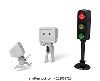 3d people with a traffic light. 3d image. Isolated white background.