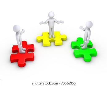 3d people unite as a team