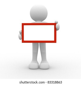 3d people-human character holding a board - This is a 3d render illustration