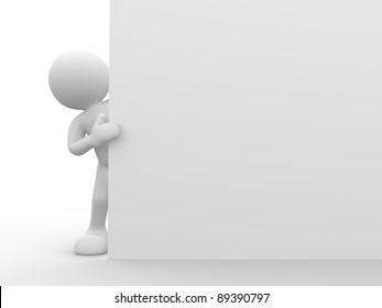 3d people-human character holding a board.This is a 3d render illustration