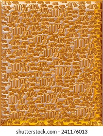 3D Percentage and digits in gold background