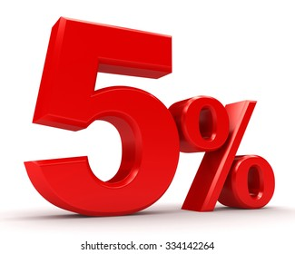 3d percentage of red on a white background