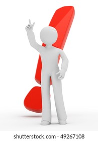 3d person with big exclamation mark isolated on white.