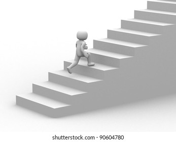 3d person character running up on stairs - 3d render illustration
