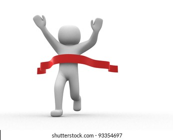 3d person crossing the finishing line - This is a 3d render illustration
