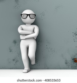 3d person in glasses standing near the wall. 3D rendering