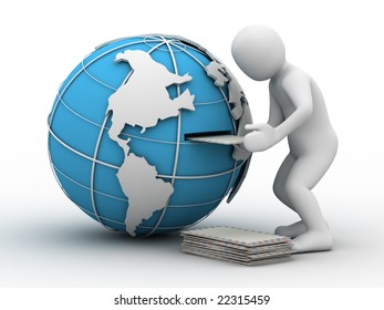 3d person, globe and letter on white background