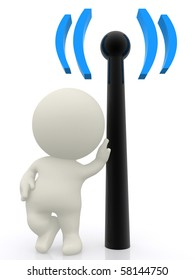 3D person with hand on a wireless sign - isolated over a white bckground