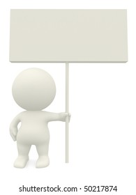3D person holding a sign isolated over a white background