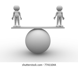 3d person icon in balance - This is a 3d render illustation