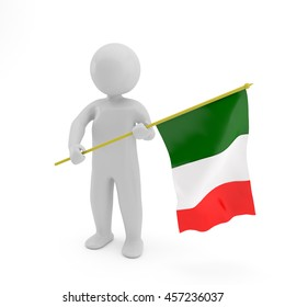 3D person with a Italian flag in a hand Isolated on white background, National anthem illustration