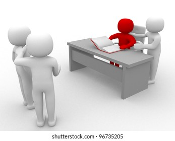3d person at a office - 3d render illustration