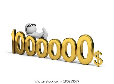 3d person and one million dollars. 3d image. White background.
