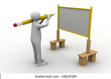 3d person with pointer in hand close to board