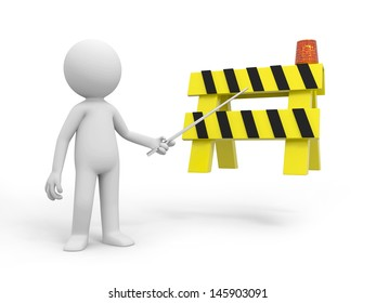 A 3d person pointing at the roadblocks with a stick