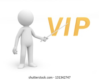 A 3d person pointing to a VIP symbol
