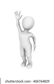 3d person pulls a hand up. 3d illustration