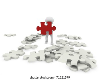 3d person with puzzle figure