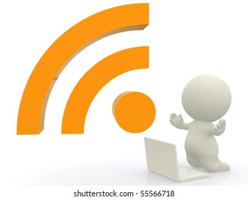 3D person with an RSS sign and a laptop - isolated over a white background
