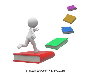 A 3d person running along a line of books